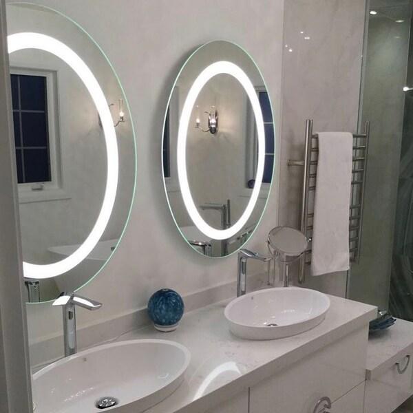 Два круглых зеркала с подсветкой