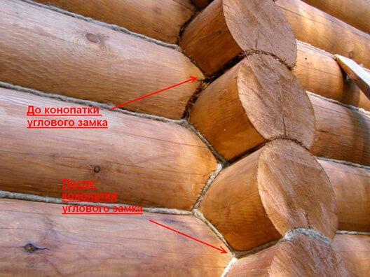 Конопатка углового замка сруба деревянного дома